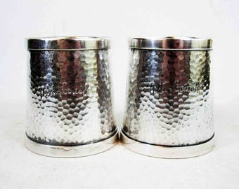 "Vintage Set of Two ""Nite Coach"" Bus Service Serving Cups in Silver Plate. Circa 1920's - 1930's."