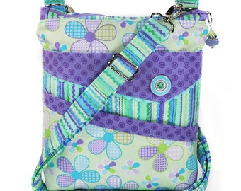 Small Crossbody Bag Purple Turquoise Lime Green Spring Flowers