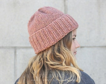 Knit hats women | Pink knit hat | knit hat | Pink beanie | 100 % Canadian wool //  The Classic Cuffed Beanie in Old Pink