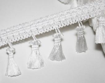 White beaded fringe dangles Ribbon tassel tassel trim