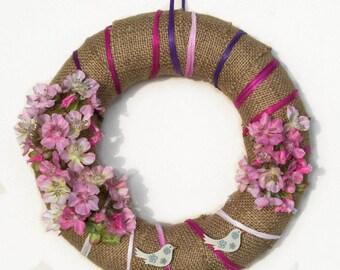Easter peach blossom wreath, spring blooming flower decor, spring flower wall decor, peach pink wreath, Italian spring gift , teacher gift