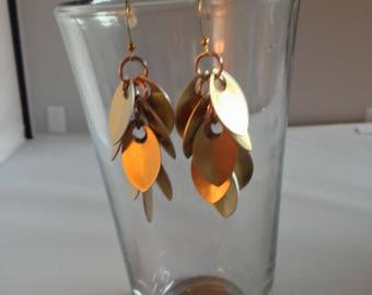 Gold Shaggy Scale Earrings
