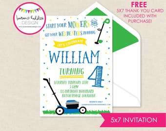 Lawnmower Birthday Invitation, Yard Tools Birthday, Lawnmower Printables, Lawnmower Decorations, Lauren Haddox Designs