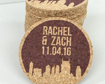 Nashville Skyline Wedding Cork Coaster Favors Personalized with Names and Wedding Date // Wedding Reception Cork Coaster Favor
