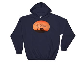 Sunset Photography Bear Animal Art Print Hooded Sweatshirt