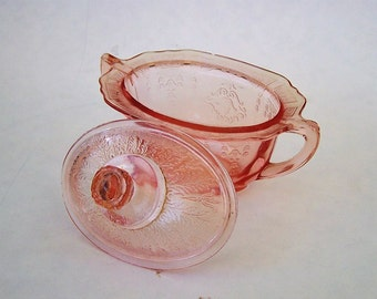 Rose Pink Depression Era Glass Princess Pattern Covered Sugar Bowl