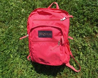 Vintage Jansport 90s Backpack Hot Pink, Jansport Bag Pink School Bag, Book Bag jansport, Mesh Pockets, Jansport, Back to School, Laptop bag