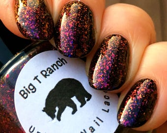 Multichrome Flakie Topcoat - Paris Nights - Multi-Color Shifting Polish:Custom-Blended Glitter Nail Polish/Indie Lacquer