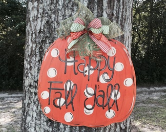 Pumpkin Door Hanger, Fall Door Hanger, Pumpkin Decor, Happy Fall Door Hanger