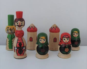 Set of Wooden Russian Figures Russian Dolls Baboushka Ornaments Decorative