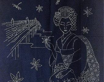 """Beautiful Geisha - Sashiko Panel Fabric 24"""" x 44"""""""
