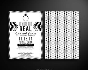 ALICE Love is Sweet Black and White Wedding Invitation