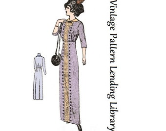 1912 Ladies Dress with Four Gore Skirt - Reproduction Sewing Pattern #E6131