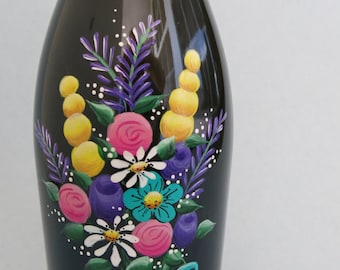 Painted Wine Bottle, Flowers Wine Bottle, Lighted Wine Bottle, Floral Night Light