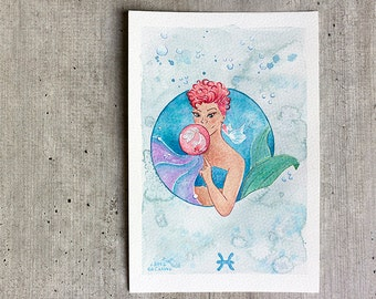 Illustration Pisces | Print Mermaid | Fashion Watercolor