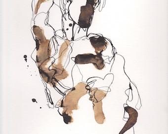 Abstrakte Figur Kunst, abstrakte Malerei, Figur Linie Tuschezeichnung, abstrakte Figur IV April 2018
