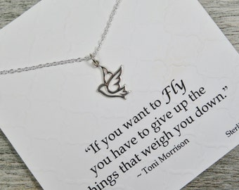Sterling Silver - Dove Necklace - If You Want To Fly - Inspirational Jewelry - Bird Charm - Dove Charm