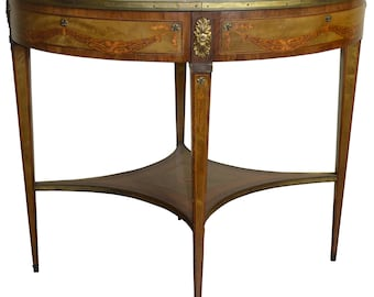 18242 Inlaid Oval Banded Table with Cupids