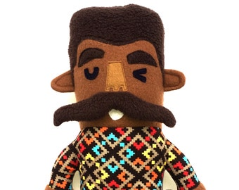 Manny the Mega Mustache Plush doll, stuffie, facial hair, cuddly, ugly sweater, movember, fundraiser