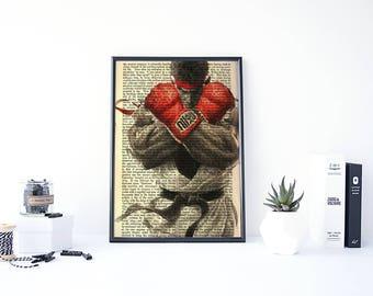 Ryu Street Fighter, Ryu Poster, Arcade Game, Martial Arts, Fighting Game, Ken Masters, Akuma, Video Game Prints, Capcom, Dictionary Art