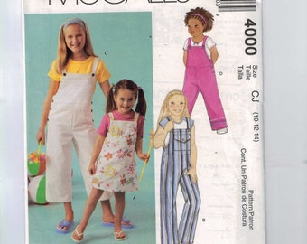 Childs Sewing Pattern McCalls 4000 Girls Jumpers or Overalls Size 10 12 14 Breast 28 29 30 32  UNCUT  99