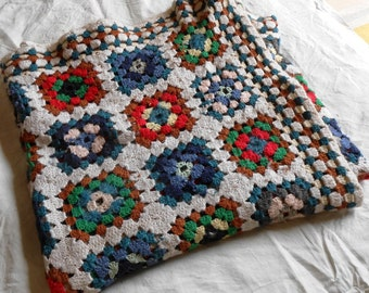 Crochet afghan 100% pure Merino Wool, Granny square blanket, cottage chic  crocheted bedspread, wedding registry handmade blanket