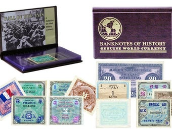Allied Military Currency 8 Banknote Collection Folio