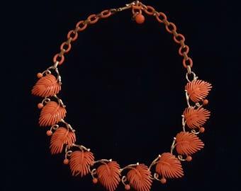 Vintage LISNER bright orange leaf necklace - flawed