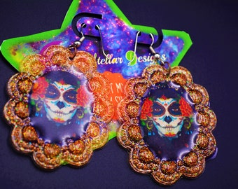 Kawaii Day Of Dead Girl Glitter Earrings