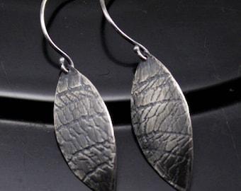 Embossed Leaf Earrings in Sterling Silver