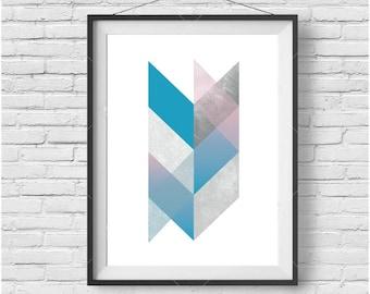 Chevron Print, Chevron Art, Geometric Print, Geometric Poster, Scandinavian Print, Scandinavian Art, Blue Print, Pink Print, Blue Home Decor