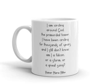 Rainer Maria Rilke I am circling around God the primorial tower inspirational quote literature poetry mug gift positive message