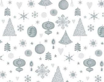 Magical Moments Metallic Silver Ornaments from Blank Quilting 4593-100 by the yard