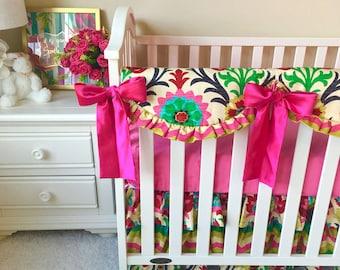 Bumperless Crib Bedding, Santa Maria Damask Crib Bedding, Chevron Baby Bedding, Bumperless Baby Bedding, Hot Pink Crib Bedding, Baby Bedding
