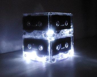 Luminous White and Black Mixtape Cassette Tape Night Light Centerpiece Lamp