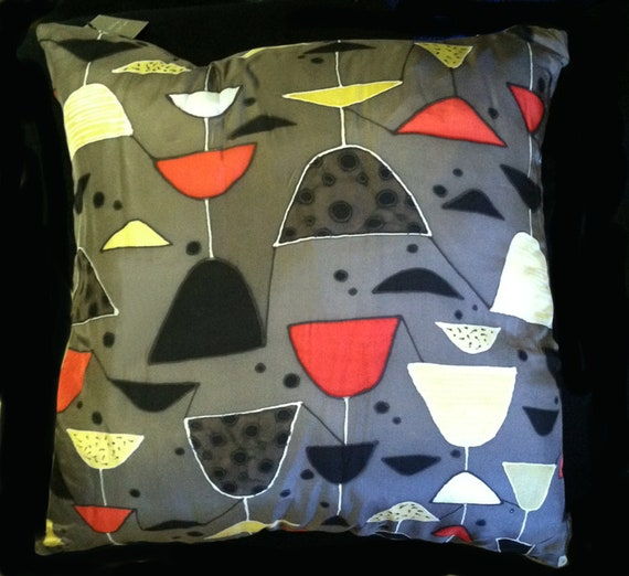 MARTINI TIME -Decorative Hand Painted  Silk Pillow -