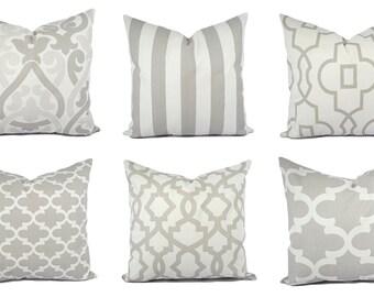 Grey and White Pillow Covers - Grey Pillow Sham - Grey Throw Pillow - Decorative Pillow - Quatrefoil Accent Pillow - Striped Pillow Sham