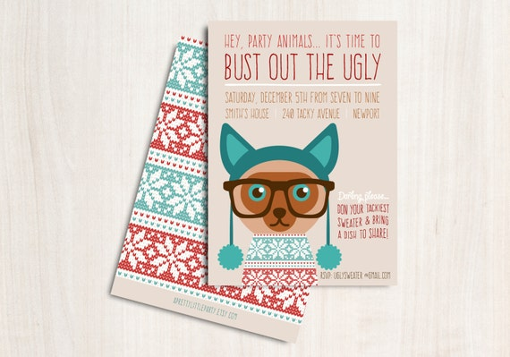 "Ugly Cat Sweater Party Invitation - Christmas Cat Party Invite - Holiday Invite ""Bust out the Ugly"""
