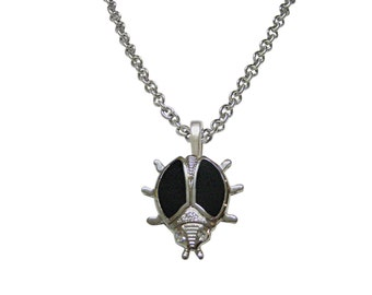 Black Bug Pendant Necklace