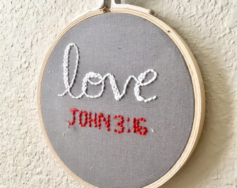 John 3:16 Embroidery Wall Décor