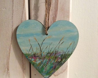 Tranquility...hand painted art heart. One of a kind. Painting/seascape/coast/decoration/home/gift.