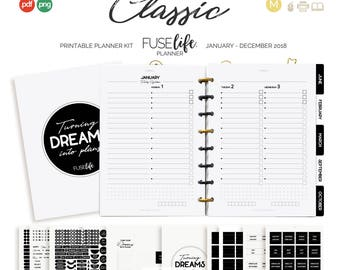2018 A5 + Half Letter Black and White Printable Planner Kit : FUSElife Classic > pdf printables plus png print + cut files (jes0556)
