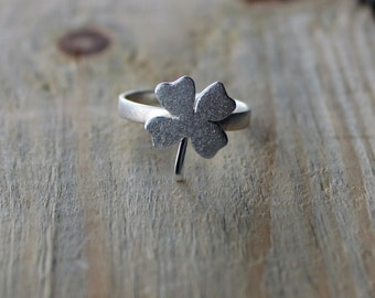 Silver Ring-Silver Clover Ring-Silver Shamrock Ring- Four Leaf Clover Ring-Sterling Silver Shamrock Ring-Plant Jewelry-Valentines Day Gift