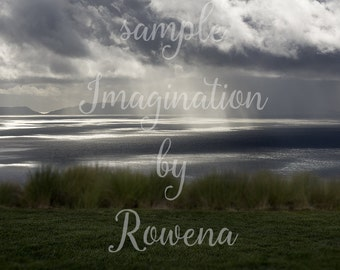 Dramatic storm clouds and ocean digital background | digital backdrop | stormy | light rays |grass