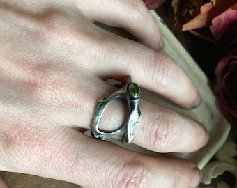 Cast Sterling Hip Bone Peridot ring