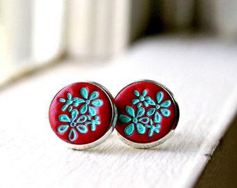 ruby sue post earrings, stud earrings, red earrings, flower jewelry, gift for her