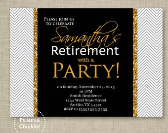 Black Retirement Party Invite Gold Glitter Invite Formal Birthday Adult Party Invitation Printable Invite 5x7 Digital JPG File 3