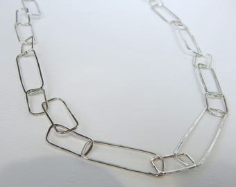 Sterling Silver Long Box Link Chain