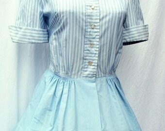 1950's Pinstriped Shirtwaist Day Dress