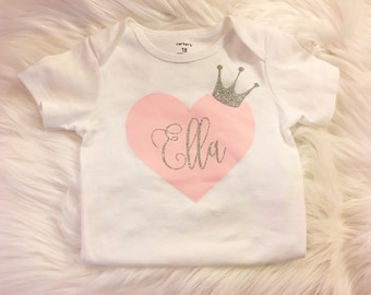 First Birthday Outfit, Heart Birthday Outfit, Personalized Birthday Shirt, Pink and Silver Shirt, Valentines Day Outfit